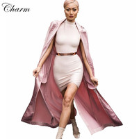 2016 new arrival noble pink notched satin summer long coat with tie elegant fashion party wear lady windbreaker jacket