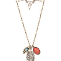 With Love From CA 2 Layer Triangle Charm Necklace - Womens Jewelry - Gold - NOSZ
