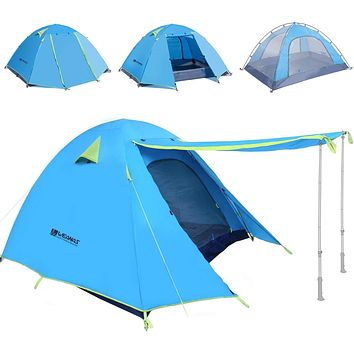 Weanas Professional Backpacking Tent 2 3 4 Person 3 Season Weatherproof Double Layer Large Space Aluminum Rod for Outdoor Family Camping Hunting Hiking Adventure Travel Extra Size Azure 1-2 Person