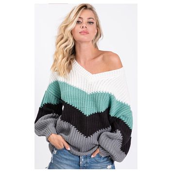 Definite MUST! Chevron Color Block Puff Sleeve Sweater