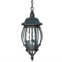 3-Light 20'' Textured Black Incandescent Outdoor Pendant Gothic Harry Potter Style