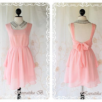 Last Piece - A Party - Cocktail Prom Party Dinner Wedding Night Dress Light Candy Pink Brush Lined Deep Back Bow Tie Candy Pink Toned