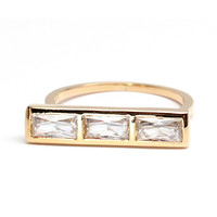 Three Baguette Ring - Rachael Ryen Jewelry