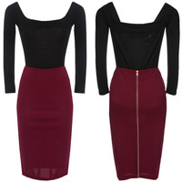 Black and Burgundy Off-the-Shoulder Zippered Bodycon Dress