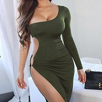 2020 New Women's Sexy Hollow Split One Shoulder Long Sleeve Dress