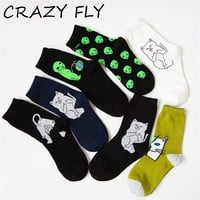 CRAZY FLY Art Funny Men Socks Winter and Autumn Funny Cat Bad Aliens Printed Patterned Lady Ankle Long Happy Cotton Socks 2018