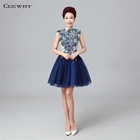 CEEWHY High Neck Embroidery Vintage Avove knee Short Party Formal Gowns Cocktail Dress 2017 Homecoming Dresses Vestido de Noiva