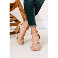 So Beachy Woven Tassel Heeled Sandals (Warm Taupe)