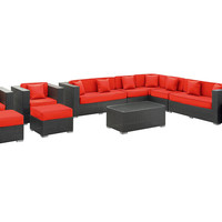 Sectional Canberra 11-Pc  Set, Red, Outdoor Lounge Sets