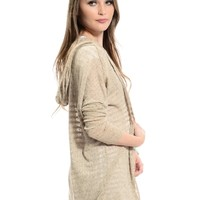 Beige Not Your Boring Ribbed Open Front Cardigan | $11.50 | Cheap Trendy Cardigans Chic Discount Fa