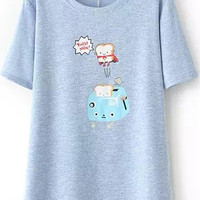Blue Short Sleeve Funny Toaster Print T-Shirt