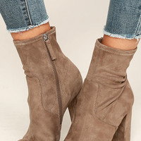 Steve Madden Edit Taupe Suede High Heel Mid-Calf Boots
