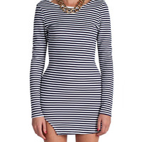 Long Sleeve Striped Mini Dress