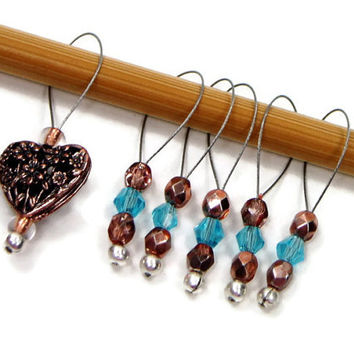 Beaded Stitch Markers, Aqua Blue, Copper, Heart, Valentine, Snag Free, DIY Knitting Supplies, Snagless, Gift for Knitter, Craft Supplies