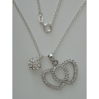 "CZ Enhanced Sterling Double Heart and Ball Pendants w/ 16"" 1.7 mm Sterling Silver Cable Chain"