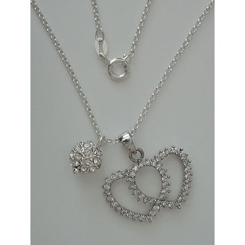 """CZ Enhanced Sterling Double Heart and Ball Pendants w/ 16"""" 1.7 mm Sterling Silver Cable Chain"""