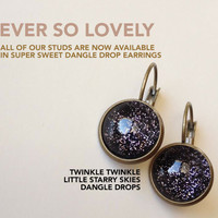 Star Light Star Bright /// Metallic Twinkle Twinkle Star Black Midnight Dangle Drop Earrings