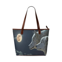 Wolven Love By The Light Of The Moon Shoulder Tote Bag (Model 1646) | ID: D367997