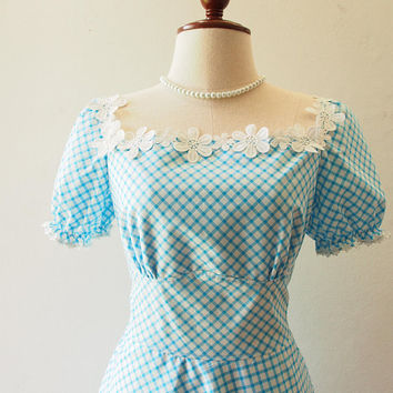Happily Ever After - Baby Doll Dolly Sleeve Dress Blue Gingham Dress Blue Summer Dress Swing Skirt Tea Party Style Vintage Sundress