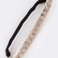 FACETED BEADED LACE STRETCH HEADBAND