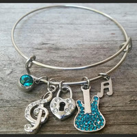 Guitarist Bracelet, Music Jewelry, Music Lover Gift, Guitarist Gift, Musical Charms, Worshippers Gift, Gifts For Her, Christmas Gifts