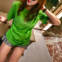 """Balenciaga""Women Casual Personality Diamond Letter Short Sleeve T-shirt Top Tee"
