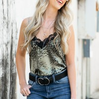 Grey Leopard Silk Tank