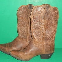 Justin Womens Cowboy Boots Size 8.5 Style L2561 Leather Upper Used LIGHTLY WORN