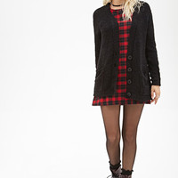FOREVER 21 Fleece Button-Front Cardigan Black