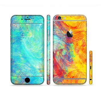 The Vibrant Colored Messy Painted Canvas Sectioned Skin Series for the Apple iPhone 6s