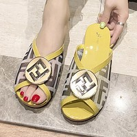 FENDI Summer Popular Women F Letter Print Flat Sandal Slipper Shoes Yellow