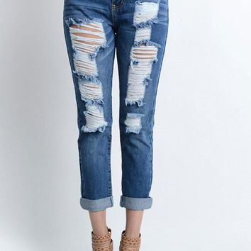 Destroyed Low-Rise Boyfriend Jeans