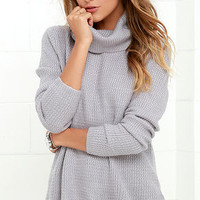 Sweet Salutation Grey Turtleneck Sweater