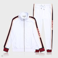 GUCCI 2018 tide brand men's classic LOGO sports and leisure two-piece white