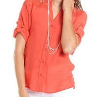 Lace Inset Roll-Cuff Top: Charlotte Russe