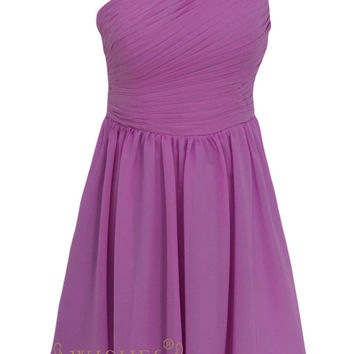 Cheap One-shoulder Purple Chiffon Short Prom Dresses Am144