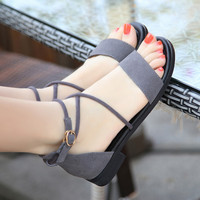 Cross strap sandals Rome students