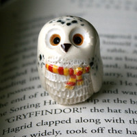 Hedwig the Snowy Gryffindor Owl: Harry Potter Inspired Owlery Clay Miniatures