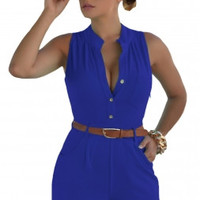2017 Summer Women Sleeveless Playsuits Short Jumpsuits V-Neck Plus Size Button Front Belted Romper Sexy Club Elegant Bodysuits