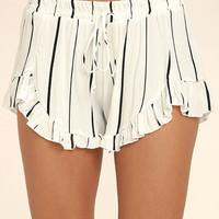 Curiosity White Striped Shorts