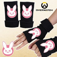 2017 D.Va OW game glove half finger couple winter cartoon watchover printing black gloves CA307