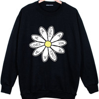 DAISY OVERSIZED SWEATER jumper t shirt top sweatshirt grunge retro fashion cute fun tumblr hipster womens beyonce miley floral indie love