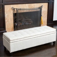 Contemporary Storage Ottoman Double-Layered Ivory Linen Plush Top Home Furniture