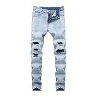 Men Blue Ripped Tight Casual Denim Jeans
