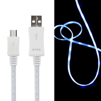 LED Light Up Micro USB Charge Sync Cable - White