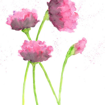 Watercolor flower painting, watercolor painting, poppy flower art, pink poppies, abstract flowers, flower print, raspberry, - 8X10 print