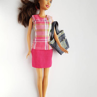 Fashion outfit for dolls clothes barbie top skirt hand made dollhouse gift for her women birthday