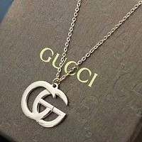 GUCCI New fashion letter chain couple necklace Rose Gold