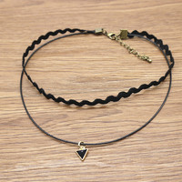 Women Leather Triangle Pendant Choker Necklace + Gift Box 16