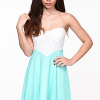 Lace Bustier Chiffon Dress - LoveCulture